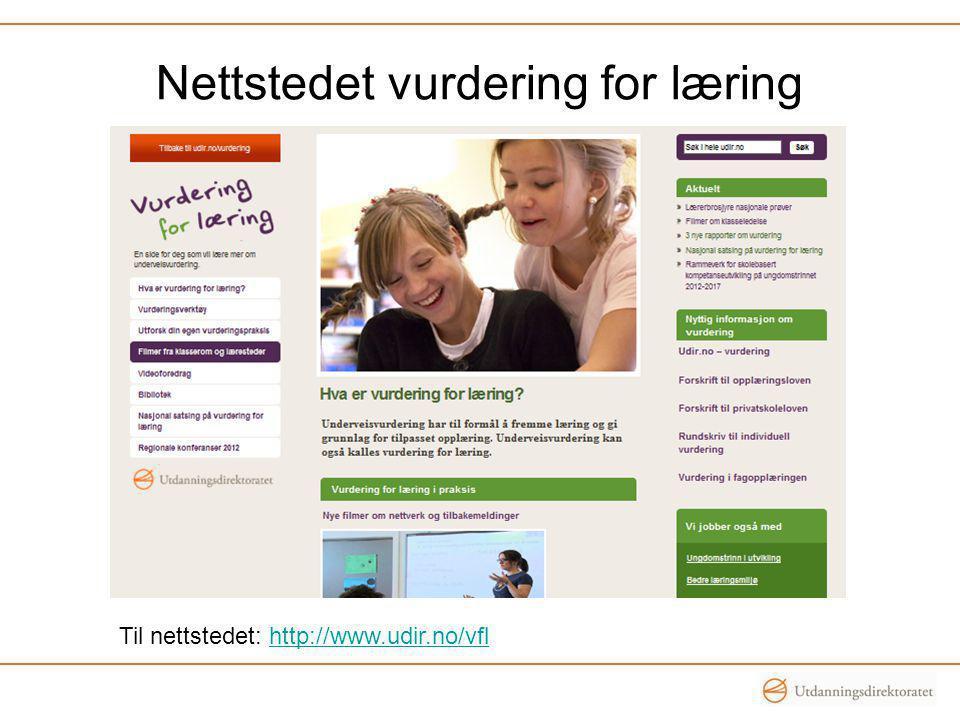 Nettstedet vurdering for læring Til nettstedet: http://www.udir.no/vflhttp://www.udir.no/vfl