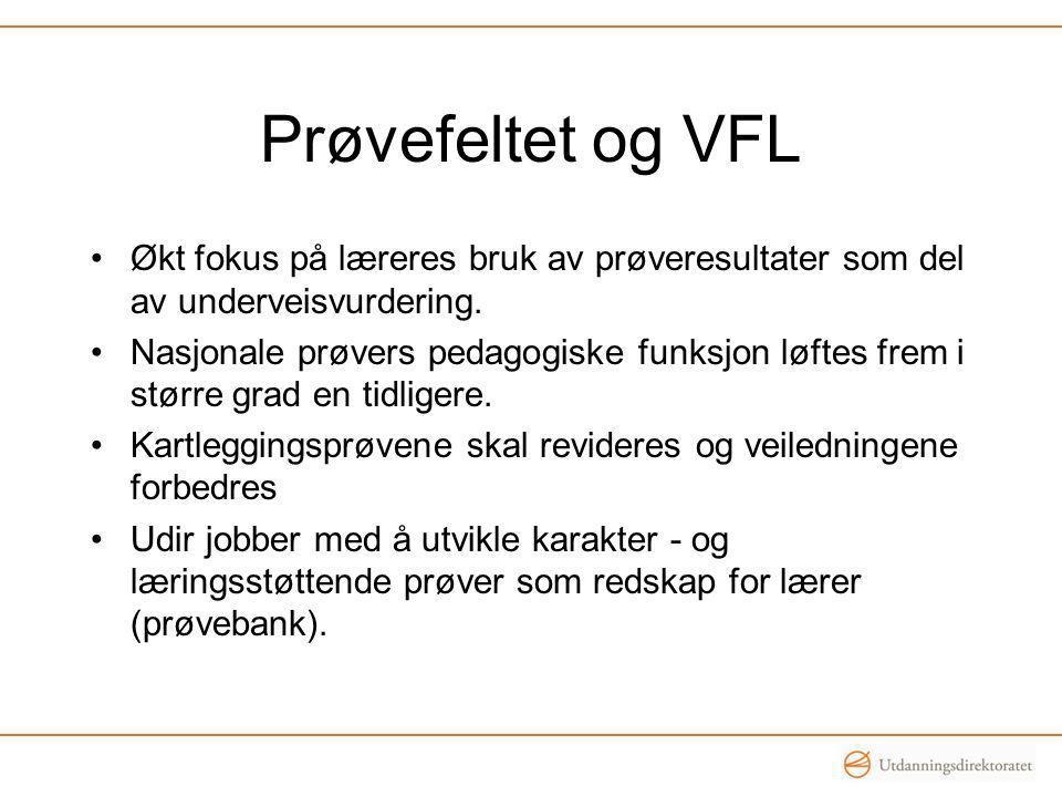 Prøvefeltet og VFL •Økt fokus på læreres bruk av prøveresultater som del av underveisvurdering. •Nasjonale prøvers pedagogiske funksjon løftes frem i