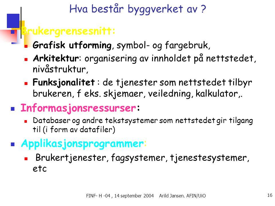 FINF- H -04, 14 september 2004 Arild Jansen. AFIN/UiO 16 Hva består byggverket av ?  Brukergrensesnitt:  Grafisk utforming, symbol- og fargebruk, 