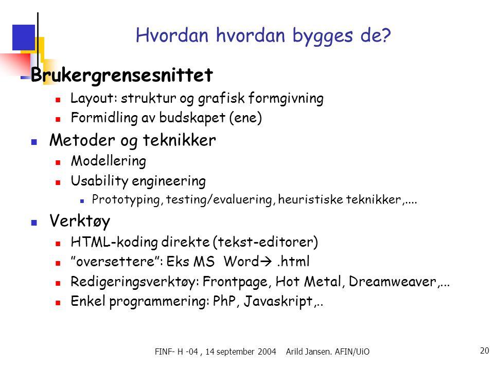 FINF- H -04, 14 september 2004 Arild Jansen. AFIN/UiO 20 Hvordan hvordan bygges de? Brukergrensesnittet  Layout: struktur og grafisk formgivning  Fo
