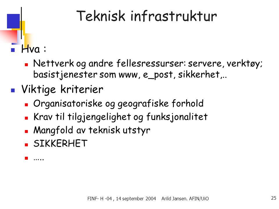 FINF- H -04, 14 september 2004 Arild Jansen. AFIN/UiO 25 Teknisk infrastruktur  Hva :  Nettverk og andre fellesressurser: servere, verktøy; basistje