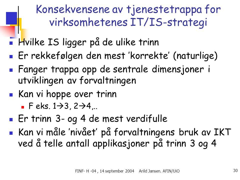 FINF- H -04, 14 september 2004 Arild Jansen. AFIN/UiO 30 Konsekvensene av tjenestetrappa for virksomhetenes IT/IS-strategi  Hvilke IS ligger på de ul