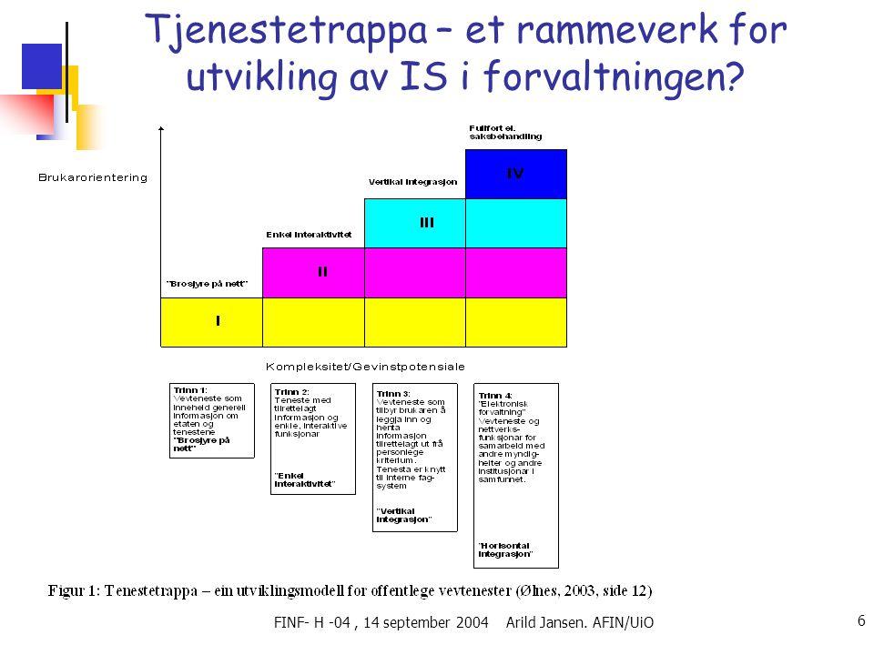 FINF- H -04, 14 september 2004 Arild Jansen. AFIN/UiO 6 Tjenestetrappa – et rammeverk for utvikling av IS i forvaltningen?