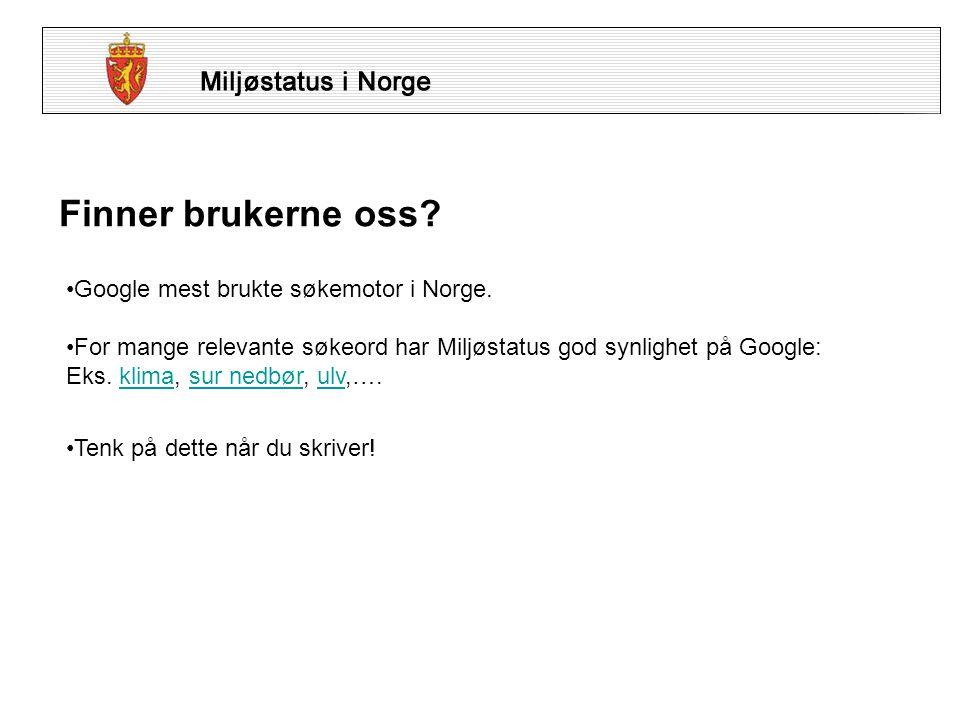 Finner brukerne oss. •Google mest brukte søkemotor i Norge.