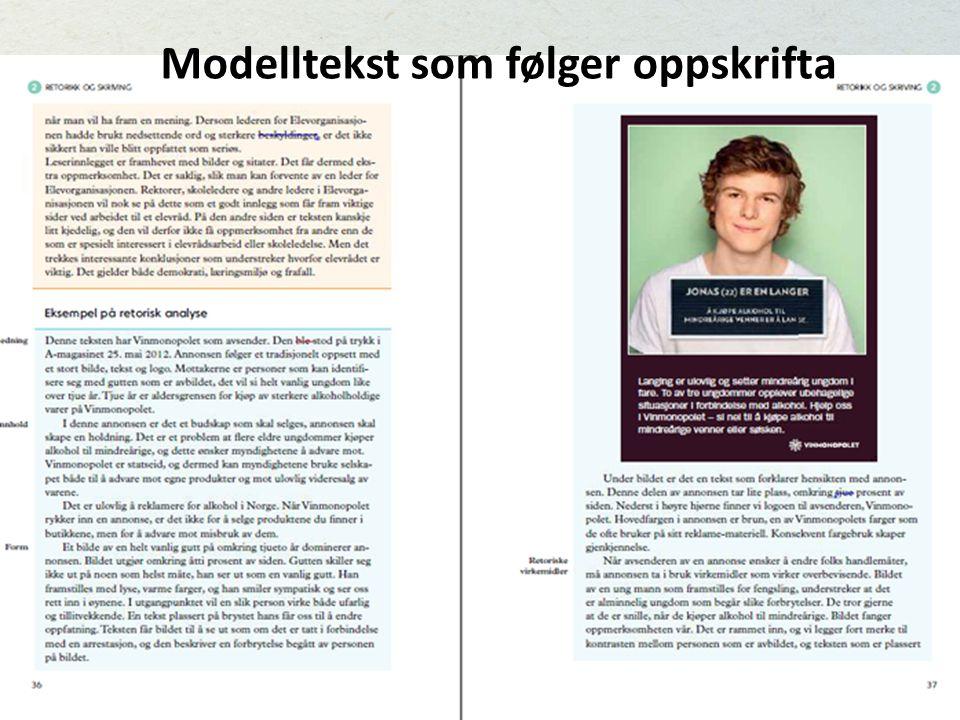 M Modelltekst som følger oppskrifta