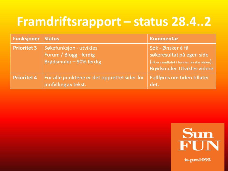 FunksjonerStatusKommentar NettstedetJobbe videre med å ferdig stille nettstedet RapportJobbe med rapporten Framdriftsrapport – videre