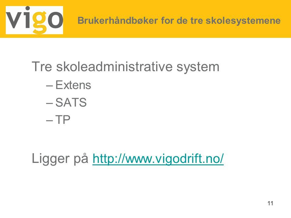 11 Tre skoleadministrative system –Extens –SATS –TP Ligger på http://www.vigodrift.no/ http://www.vigodrift.no/ Brukerhåndbøker for de tre skolesystem