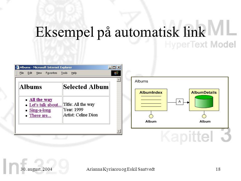 30. august. 2004Arianna Kyriacou og Eskil Saatvedt18 Eksempel på automatisk link