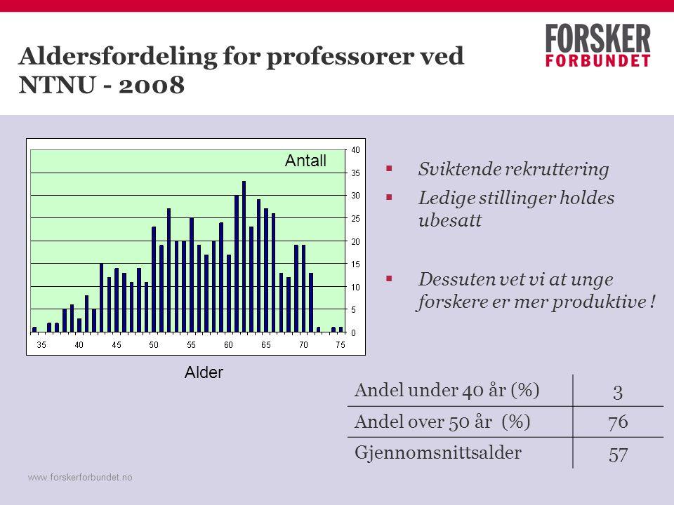 www.forskerforbundet.no Aldersfordeling for professorer ved NTNU - 2008  Sviktende rekruttering  Ledige stillinger holdes ubesatt  Dessuten vet vi