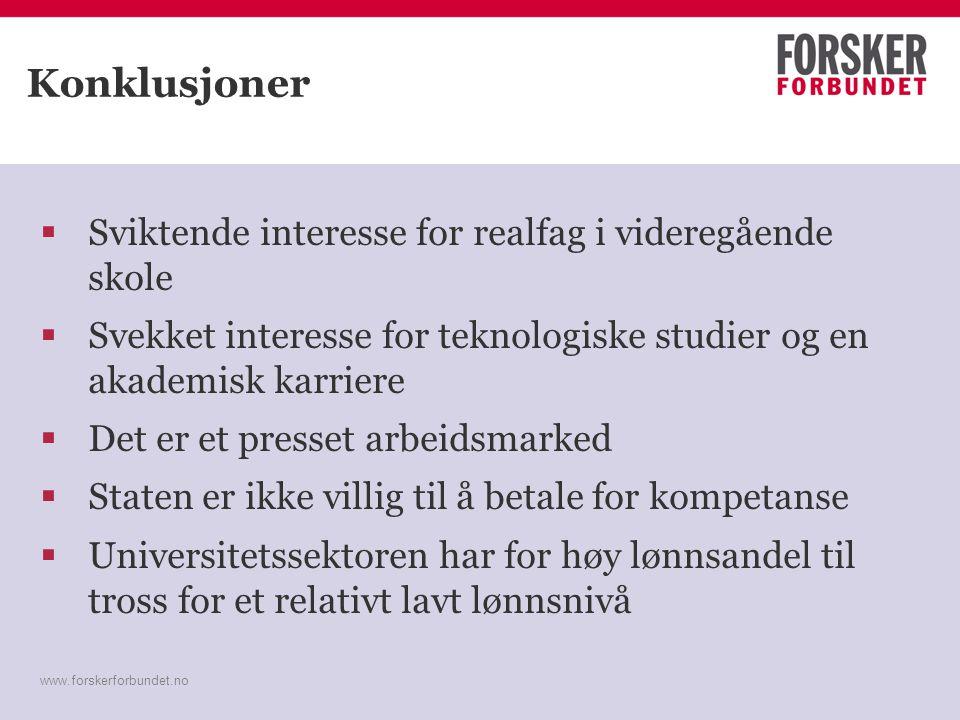 www.forskerforbundet.no Konklusjoner  Sviktende interesse for realfag i videregående skole  Svekket interesse for teknologiske studier og en akademi