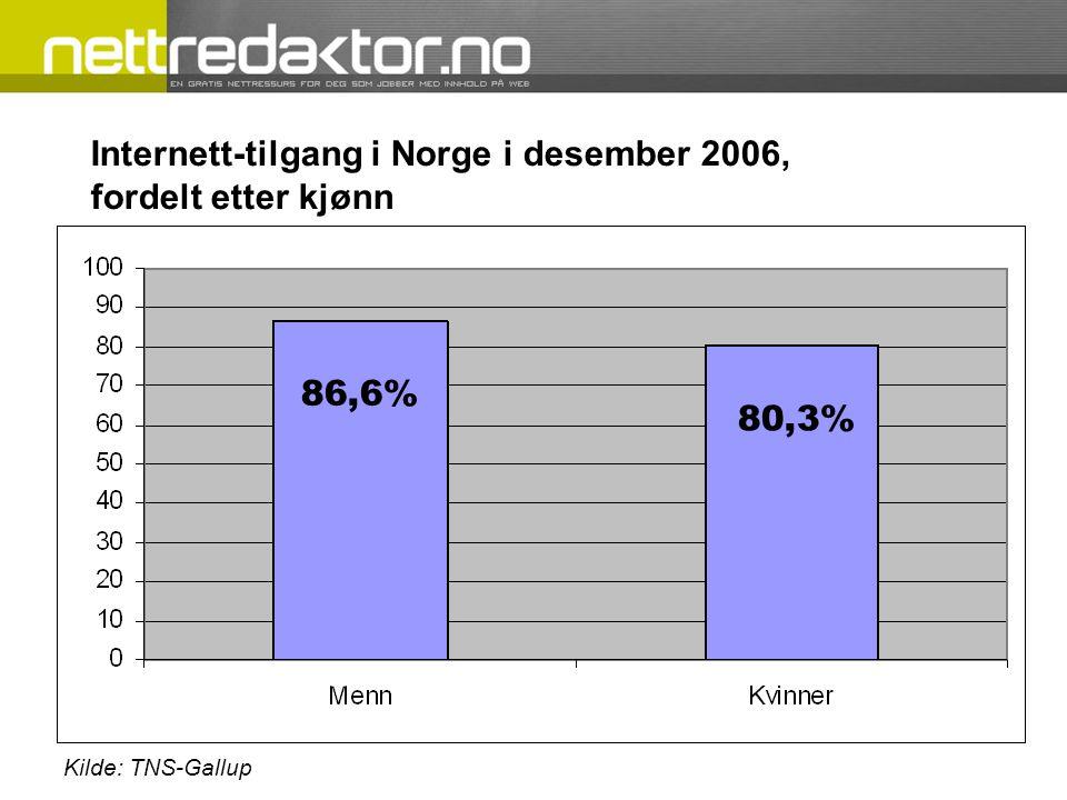 Internett-tilgang i Norge i desember 2006, fordelt etter kjønn 86,6% 80,3%