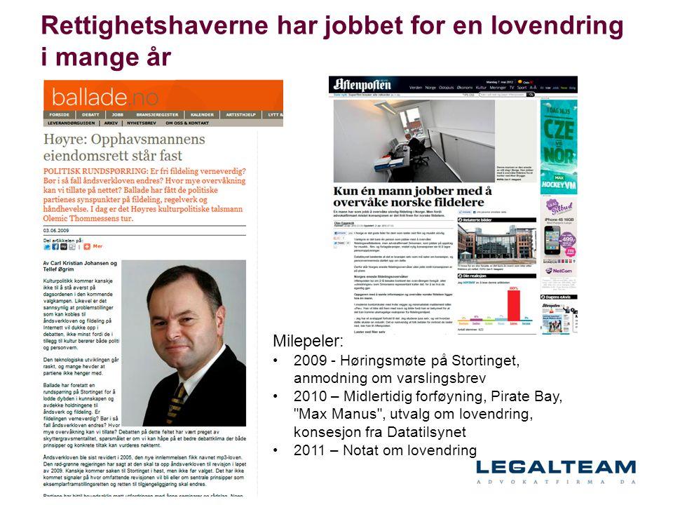 Rettighetshaverne har jobbet for en lovendring i mange år Milepeler: •2009 - Høringsmøte på Stortinget, anmodning om varslingsbrev •2010 – Midlertidig
