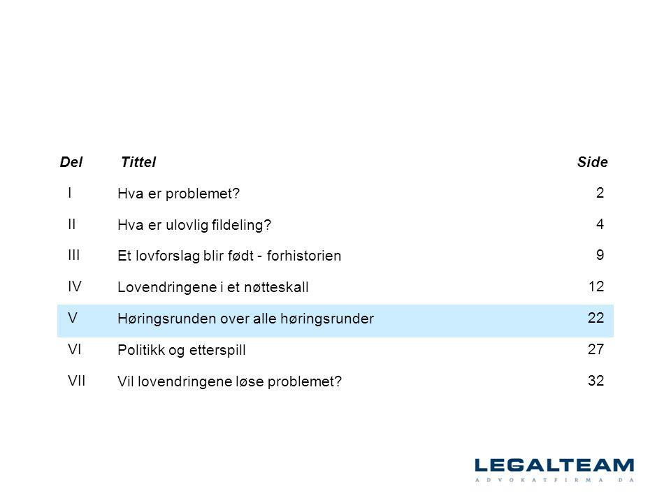 Hva er problemet? Hva er ulovlig fildeling? Et lovforslag blir født - forhistorien Lovendringene i et nøtteskall Høringsrunden over alle høringsrunder