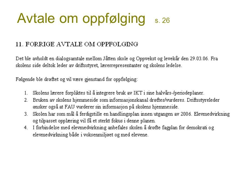 Avtale om oppfølging s. 26