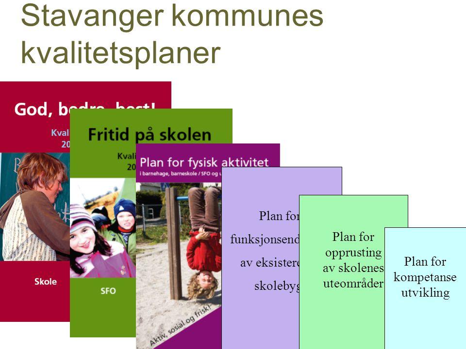 Stavanger kommunes kvalitetsplaner Plan for funksjonsendringer av eksisterende skolebygg Plan for opprusting av skolenes uteområder Plan for kompetanse utvikling