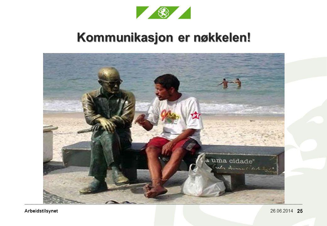 Arbeidstilsynet Kommunikasjon er nøkkelen! 26.06.2014 25
