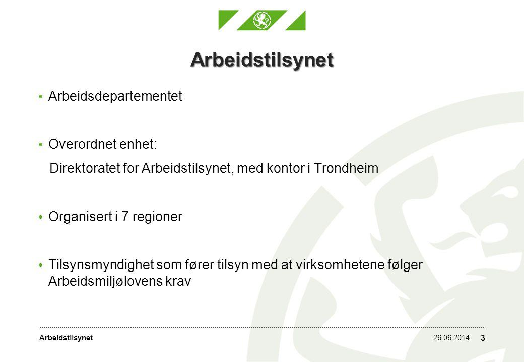 Arbeidstilsynet26.06.2014 3 Arbeidstilsynet • Arbeidsdepartementet • Overordnet enhet: Direktoratet for Arbeidstilsynet, med kontor i Trondheim • Organisert i 7 regioner • Tilsynsmyndighet som fører tilsyn med at virksomhetene følger Arbeidsmiljølovens krav