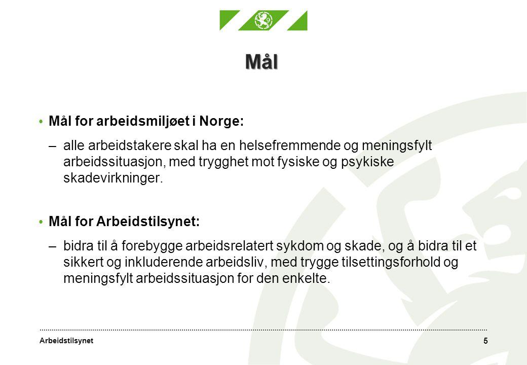 Arbeidstilsynet Mål • Mål for arbeidsmiljøet i Norge: –alle arbeidstakere skal ha en helsefremmende og meningsfylt arbeidssituasjon, med trygghet mot fysiske og psykiske skadevirkninger.
