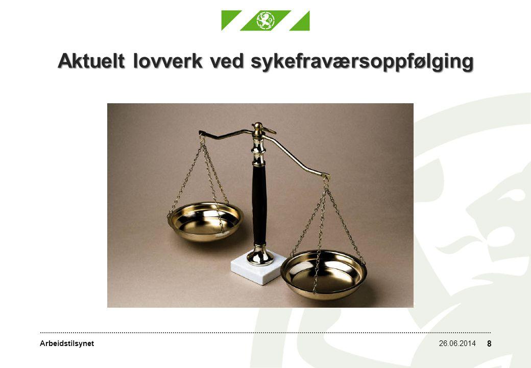 Aktuelt lovverk ved sykefraværsoppfølging 26.06.2014 8