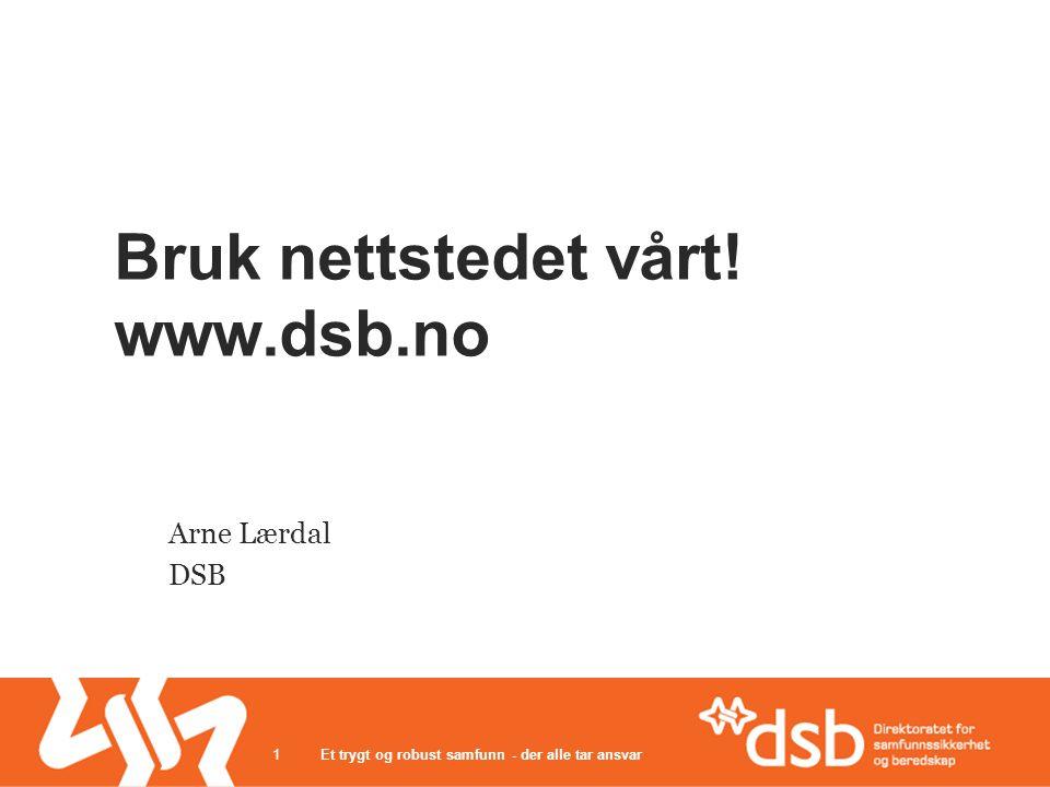 Bruk nettstedet vårt! www.dsb.no Arne Lærdal DSB Et trygt og robust samfunn - der alle tar ansvar1