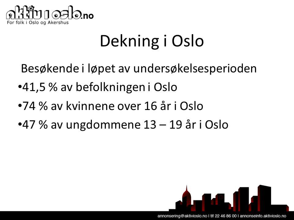 Dekning i Oslo Besøkende i løpet av undersøkelsesperioden • 41,5 % av befolkningen i Oslo • 74 % av kvinnene over 16 år i Oslo • 47 % av ungdommene 13 – 19 år i Oslo
