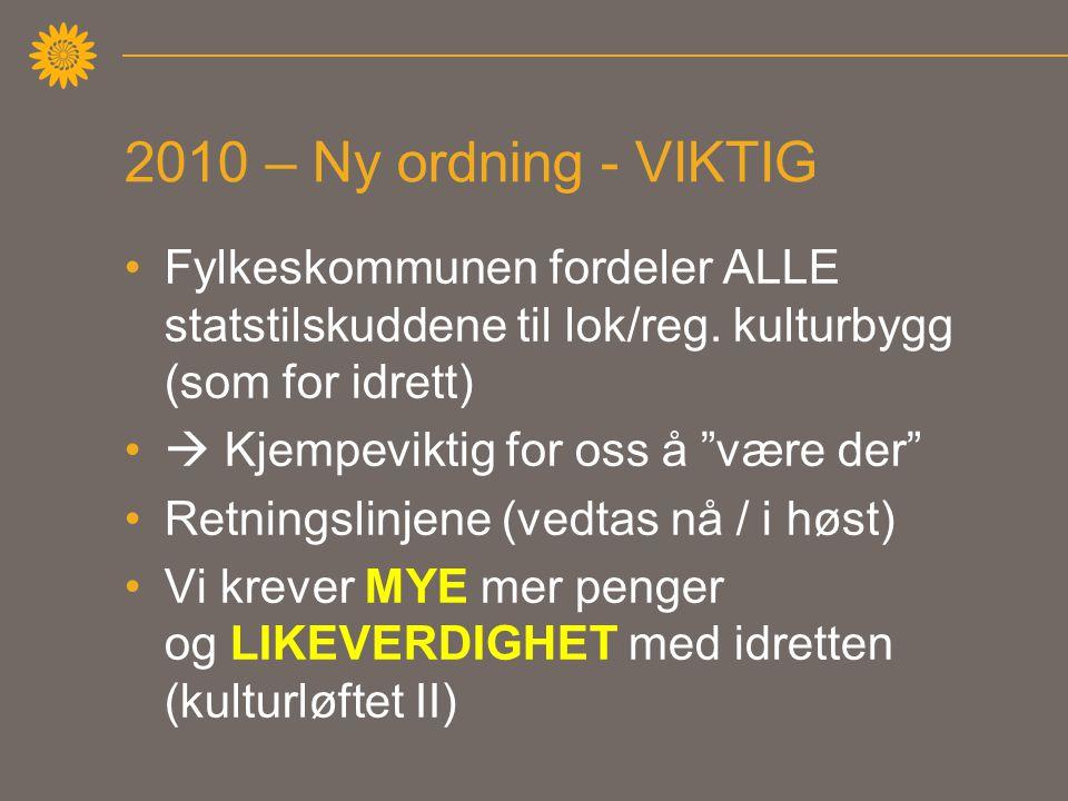 2010 – Ny ordning - VIKTIG •Fylkeskommunen fordeler ALLE statstilskuddene til lok/reg.
