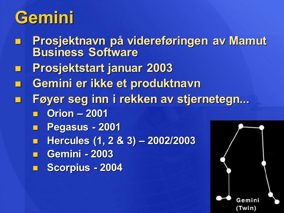Gemini  Prosjektnavn på videreføringen av Mamut Business Software  Prosjektstart januar 2003  Gemini er ikke et produktnavn  Føyer seg inn i rekken av stjernetegn...