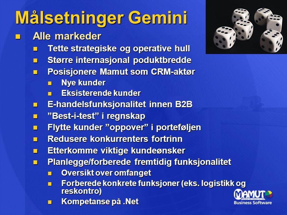 Målsetninger Gemini  Alle markeder  Tette strategiske og operative hull  Større internasjonal poduktbredde  Posisjonere Mamut som CRM-aktør  Nye kunder  Eksisterende kunder  E-handelsfunksjonalitet innen B2B  Best-i-test i regnskap  Flytte kunder oppover i porteføljen  Redusere konkurrenters fortrinn  Etterkomme viktige kundeønsker  Planlegge/forberede fremtidig funksjonalitet  Oversikt over omfanget  Forberede konkrete funksjoner (eks.
