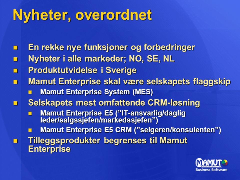  En rekke nye funksjoner og forbedringer  Nyheter i alle markeder; NO, SE, NL  Produktutvidelse i Sverige  Mamut Enterprise skal være selskapets flaggskip  Mamut Enterprise System (MES)  Selskapets mest omfattende CRM-løsning  Mamut Enterprise E5 ( IT-ansvarlig/daglig leder/salgssjefen/markedssjefen )  Mamut Enterprise E5 CRM ( selgeren/konsulenten )  Tilleggsprodukter begrenses til Mamut Enterprise Nyheter, overordnet