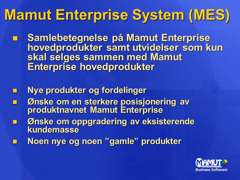 Mamut Enterprise System (MES)  Samlebetegnelse på Mamut Enterprise hovedprodukter samt utvidelser som kun skal selges sammen med Mamut Enterprise hovedprodukter  Nye produkter og fordelinger  Ønske om en sterkere posisjonering av produktnavnet Mamut Enterprise  Ønske om oppgradering av eksisterende kundemasse  Noen nye og noen gamle produkter