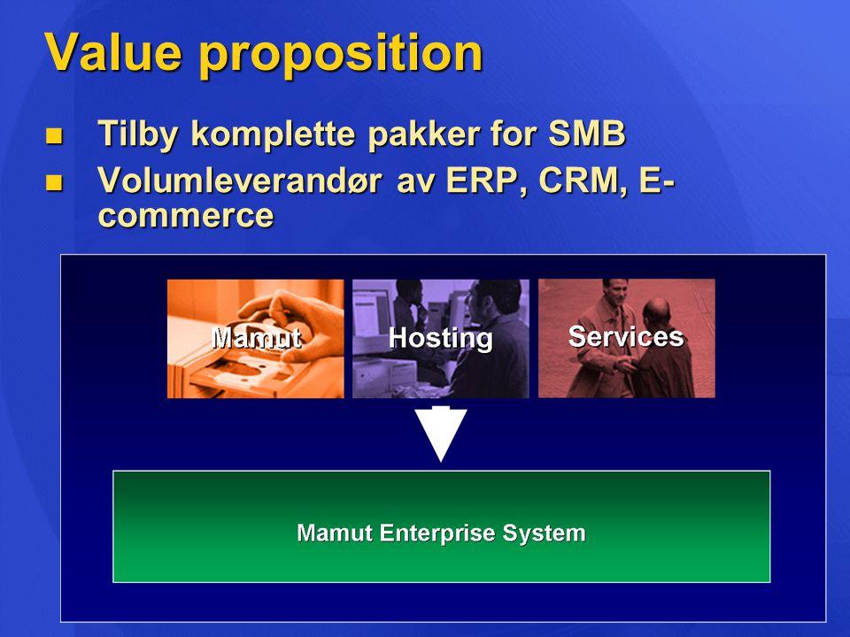Value proposition  Tilby komplette pakker for SMB  Volumleverandør av ERP, CRM, E- commerce