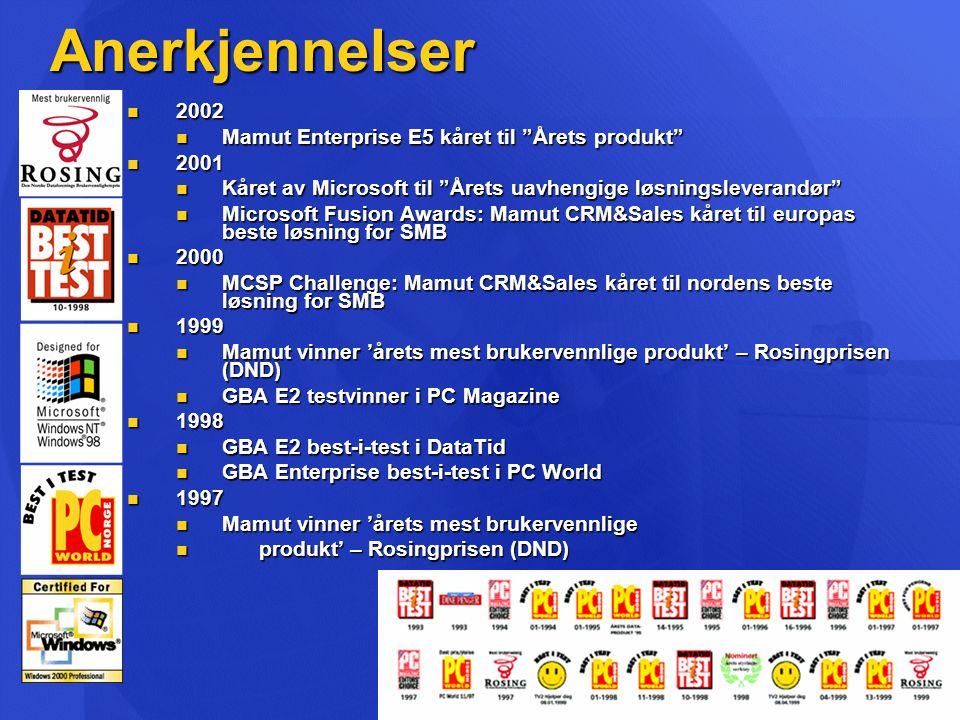 Anerkjennelser  2002  Mamut Enterprise E5 kåret til Årets produkt  2001  Kåret av Microsoft til Årets uavhengige løsningsleverandør  Microsoft Fusion Awards: Mamut CRM&Sales kåret til europas beste løsning for SMB  2000  MCSP Challenge: Mamut CRM&Sales kåret til nordens beste løsning for SMB  1999  Mamut vinner 'årets mest brukervennlige produkt' – Rosingprisen (DND)  GBA E2 testvinner i PC Magazine  1998  GBA E2 best-i-test i DataTid  GBA Enterprise best-i-test i PC World  1997  Mamut vinner 'årets mest brukervennlige  produkt' – Rosingprisen (DND)