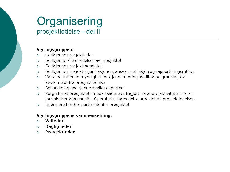 Organisering prosjektledelse – del II Styringsgruppen:  Godkjenne prosjektleder  Godkjenne alle utvidelser av prosjektet  Godkjenne prosjektmandate