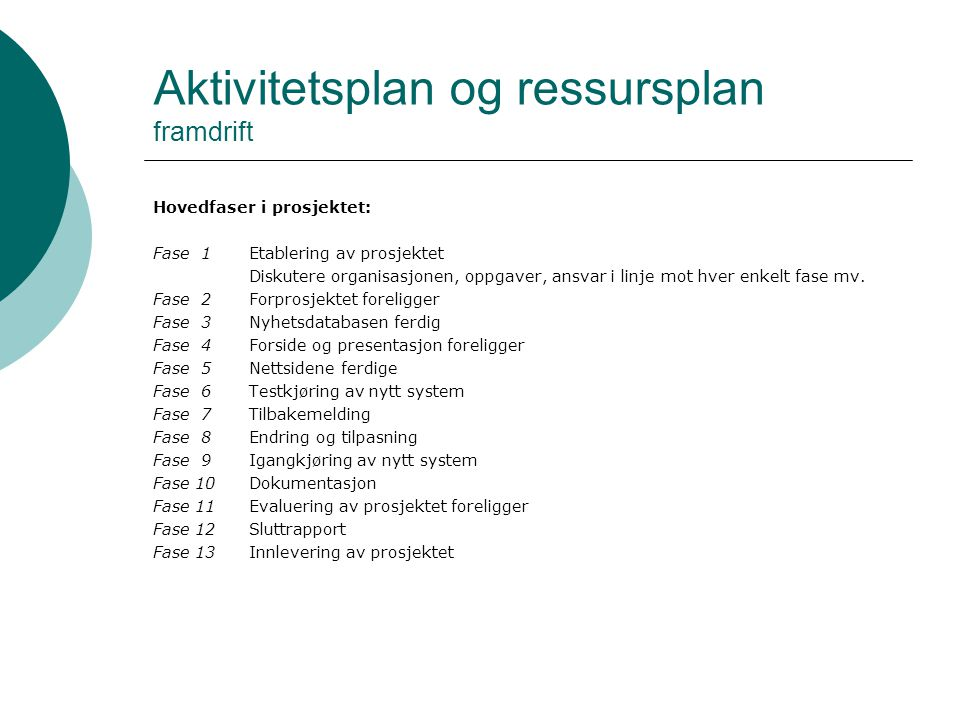 Aktivitetsplan og ressursplan framdrift Hovedfaser i prosjektet: Fase 1Etablering av prosjektet Diskutere organisasjonen, oppgaver, ansvar i linje mot
