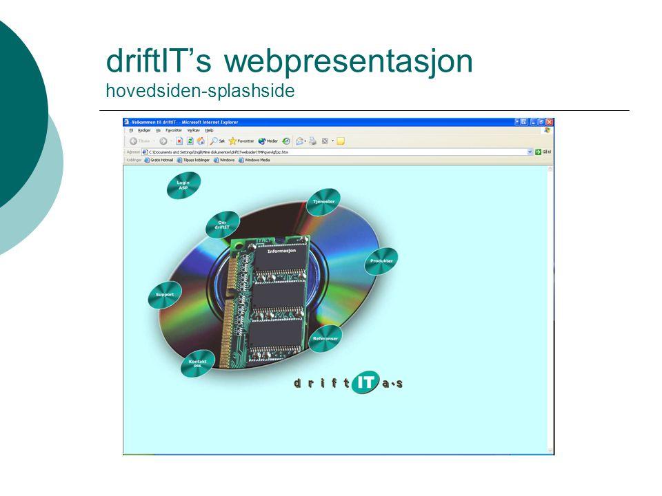 driftIT's webpresentasjon hovedsiden-splashside