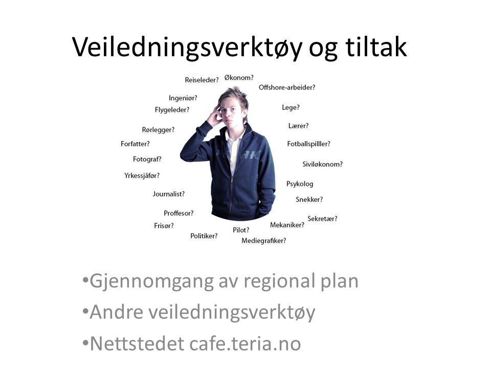 Veiledningsverktøy og tiltak • Gjennomgang av regional plan • Andre veiledningsverktøy • Nettstedet cafe.teria.no