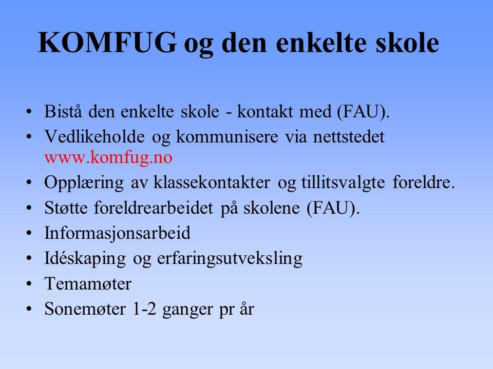 KOMFUG og den enkelte skole •Bistå den enkelte skole - kontakt med (FAU). •Vedlikeholde og kommunisere via nettstedet www.komfug.no •Opplæring av klas
