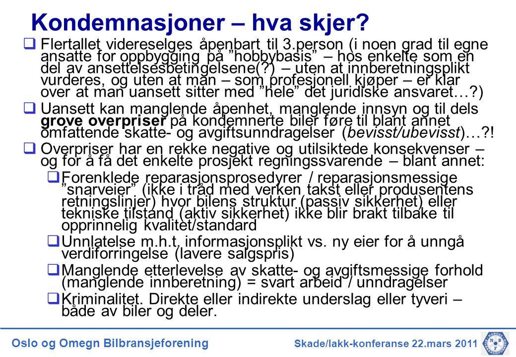 Oslo og Omegn Bilbransjeforening Skade/lakk-konferanse 22.mars 2011 Kondemnasjoner – hva skjer?  Flertallet videreselges åpenbart til 3.person (i noe