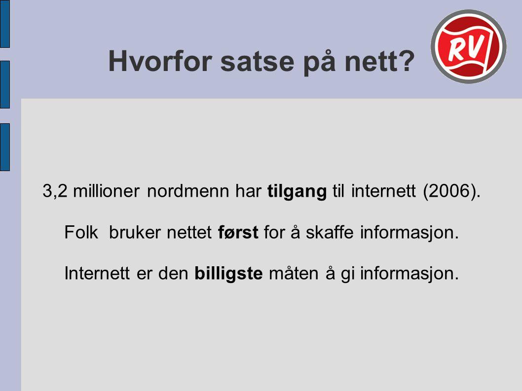 Hvorfor satse på nett. 3,2 millioner nordmenn har tilgang til internett (2006).
