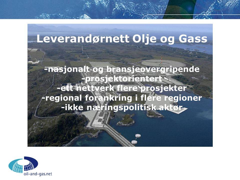 Leverandørnett Olje og Gass -nasjonalt og bransjeovergripende -prosjektorientert -ett nettverk flere prosjekter -regional forankring i flere regioner