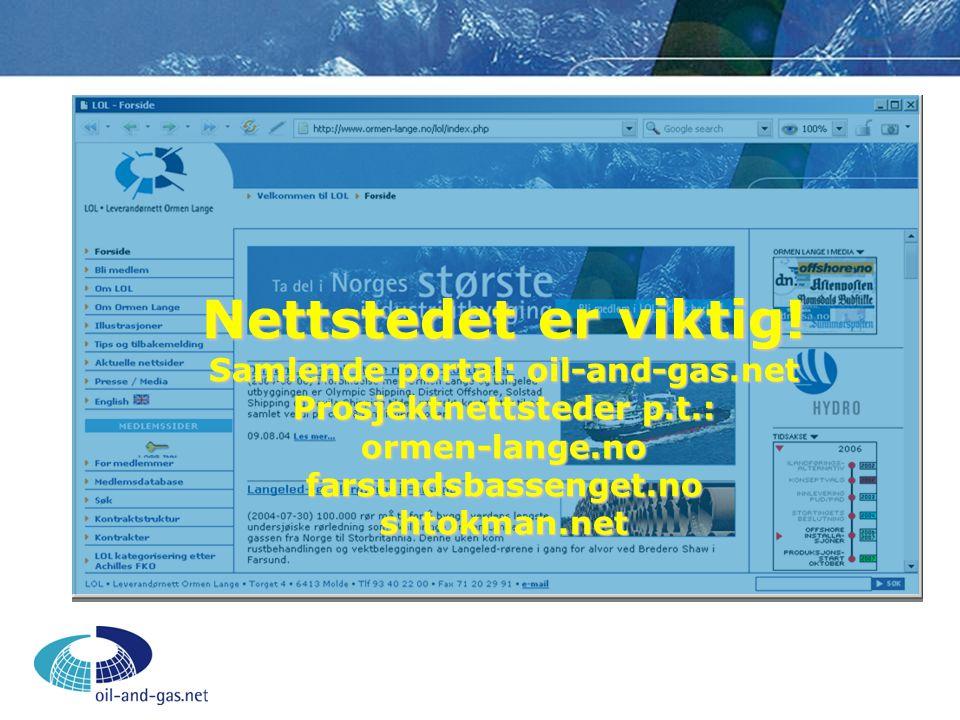 Nettstedet er viktig! Samlende portal: oil-and-gas.net Prosjektnettsteder p.t.: ormen-lange.no farsundsbassenget.no shtokman.net