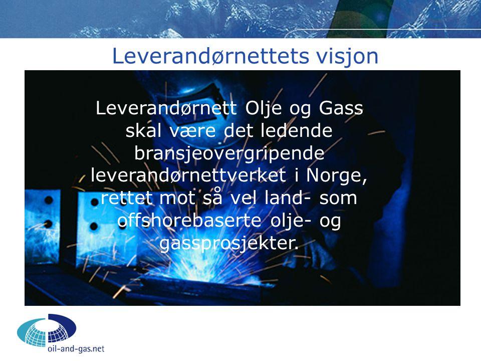 Leverandørnettets visjon Leverandørnett Olje og Gass skal være det ledende bransjeovergripende leverandørnettverket i Norge, rettet mot så vel land- s
