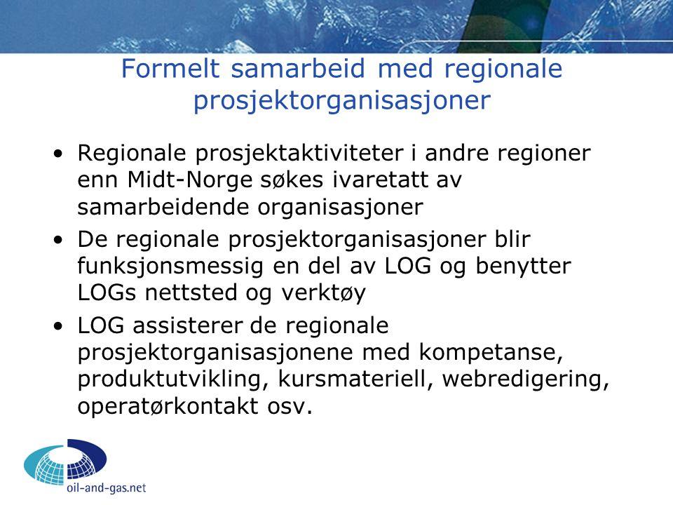 Formelt samarbeid med regionale prosjektorganisasjoner •Regionale prosjektaktiviteter i andre regioner enn Midt-Norge søkes ivaretatt av samarbeidende