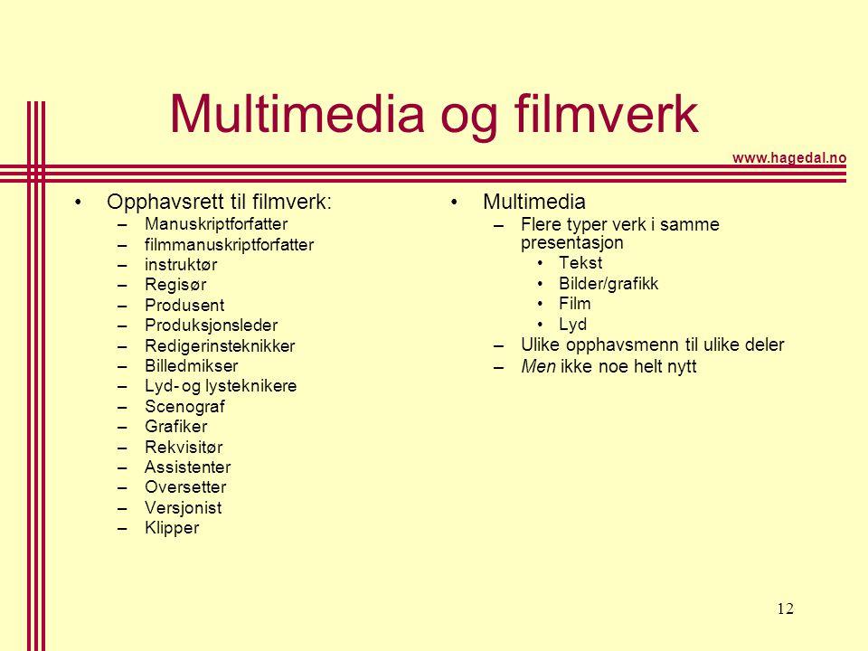 www.hagedal.no 12 Multimedia og filmverk •Opphavsrett til filmverk: –Manuskriptforfatter –filmmanuskriptforfatter –instruktør –Regisør –Produsent –Pro