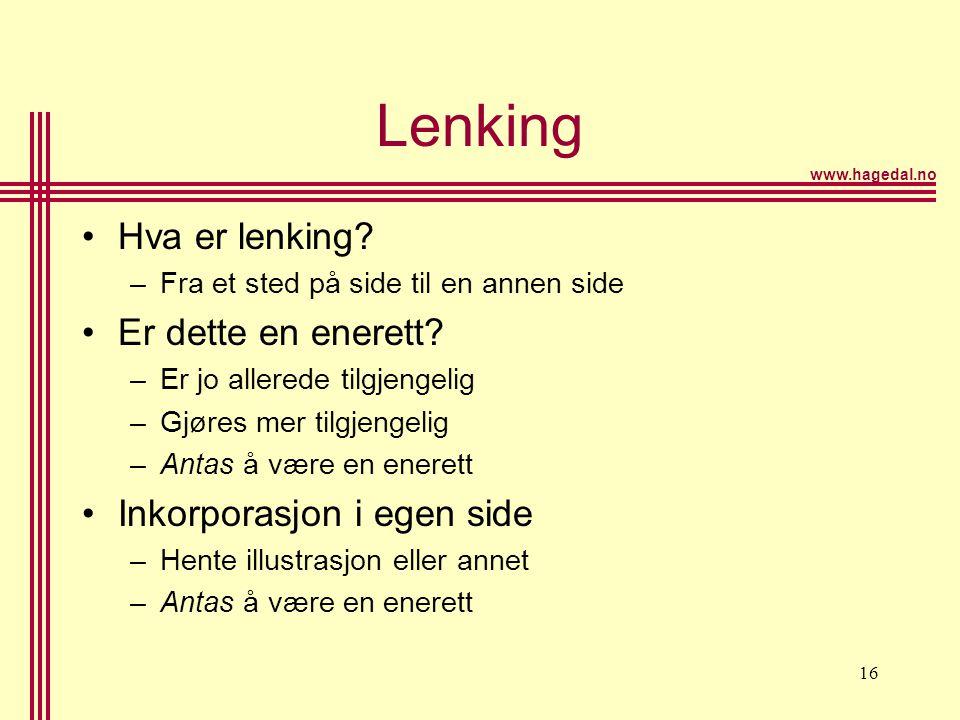 www.hagedal.no 16 Lenking •Hva er lenking? –Fra et sted på side til en annen side •Er dette en enerett? –Er jo allerede tilgjengelig –Gjøres mer tilgj