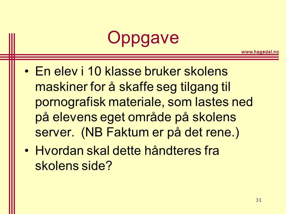 www.hagedal.no 31 Oppgave •En elev i 10 klasse bruker skolens maskiner for å skaffe seg tilgang til pornografisk materiale, som lastes ned på elevens