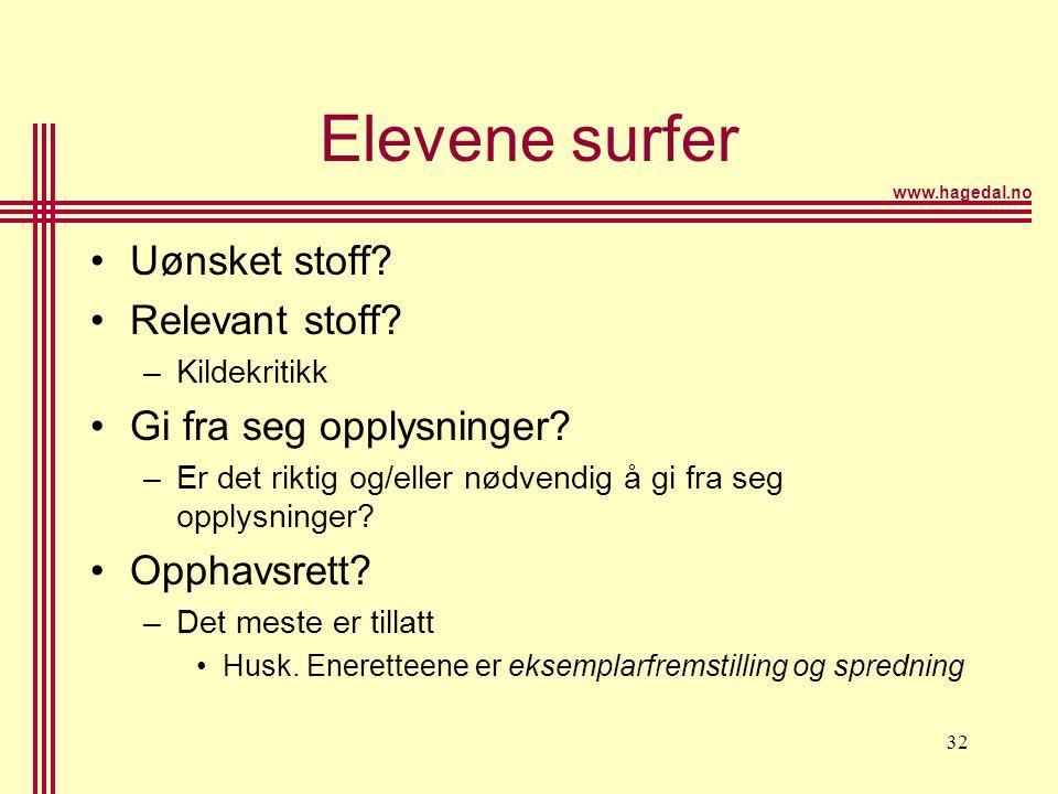 www.hagedal.no 32 Elevene surfer •Uønsket stoff? •Relevant stoff? –Kildekritikk •Gi fra seg opplysninger? –Er det riktig og/eller nødvendig å gi fra s