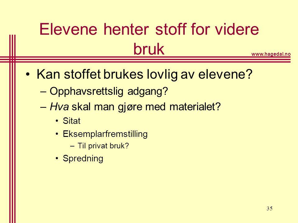 www.hagedal.no 36 Elevenes nettsted •Spørsmål: –Skal elevene ha adgang til å legge ut stoff etter eget ønske.