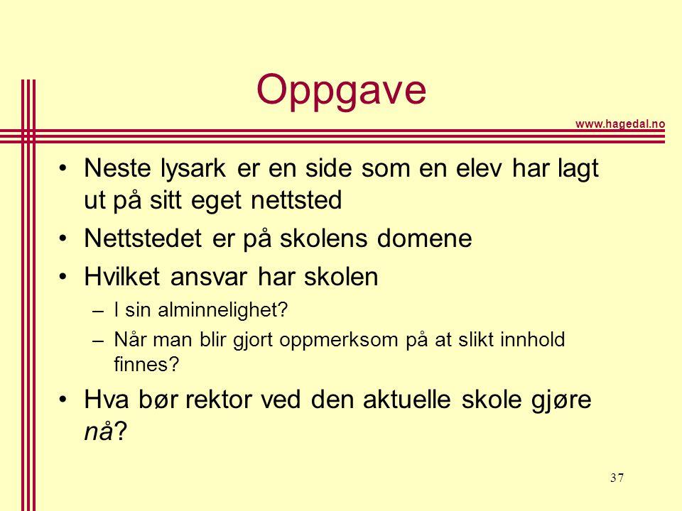 www.hagedal.no 37 Oppgave •Neste lysark er en side som en elev har lagt ut på sitt eget nettsted •Nettstedet er på skolens domene •Hvilket ansvar har