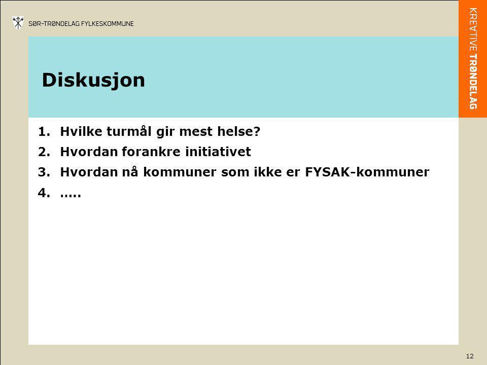12 Diskusjon 1.Hvilke turmål gir mest helse? 2.Hvordan forankre initiativet 3.Hvordan nå kommuner som ikke er FYSAK-kommuner 4.…..